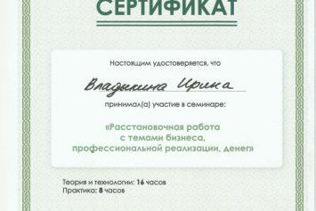 Семинар «Расстановочная работа с темами бизнеса, профессиональной реализации, денег».